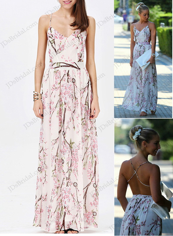 D016 women's backless Floral Print Chiffon Bohemia Maxi Dress
