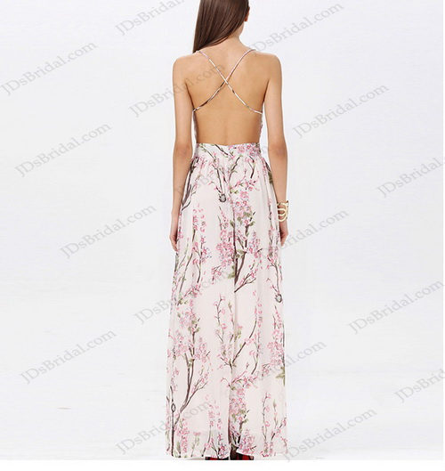 sexy backless thins straps neck criss-cross straps floral print chiffon beach maxi dress