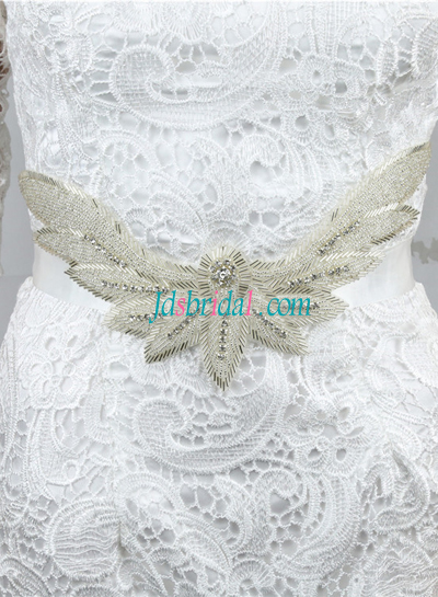 BM01 Beaded rhinestones wedding belt sash for wedding dress