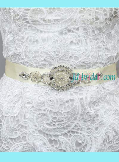 BM02 Beaded Rhinestones pearls bridal wedding belt sash