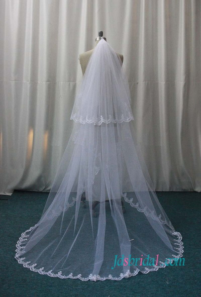 JV001 wedding veil white chapel veil