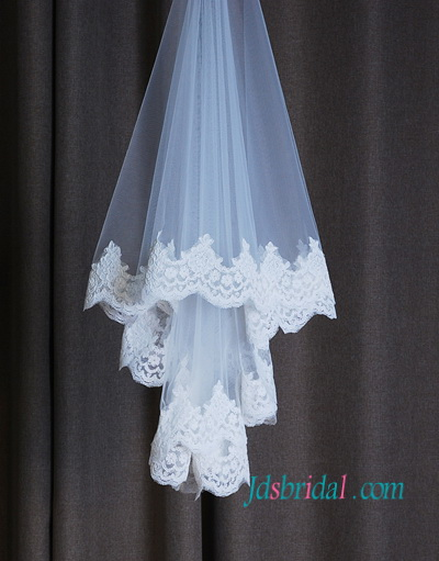 JV002 wedding veil waist length veil lace veil
