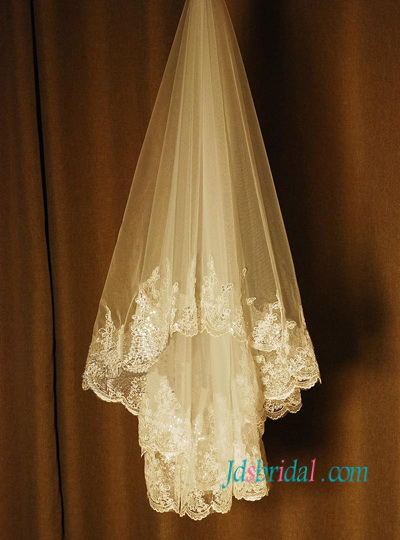 JV005 bling wedding veil waist length lace veil