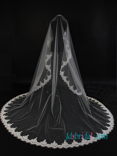 JV006 Long Wedding Veil Chapel Length Lace Veil