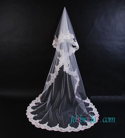JV007 long wedding veil chapel length lace veil