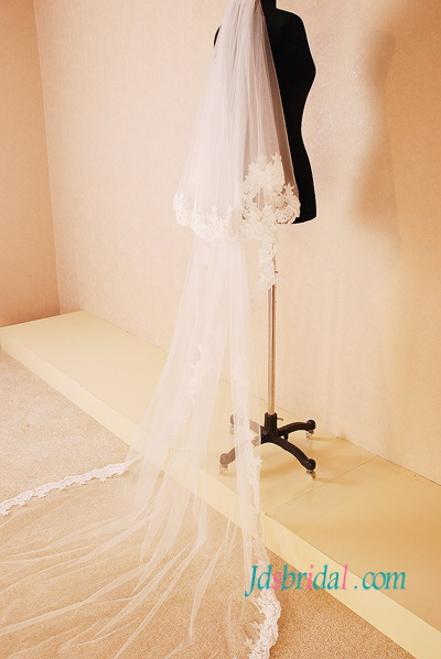 JV010 chapel length two layers wedding veil with lace trim