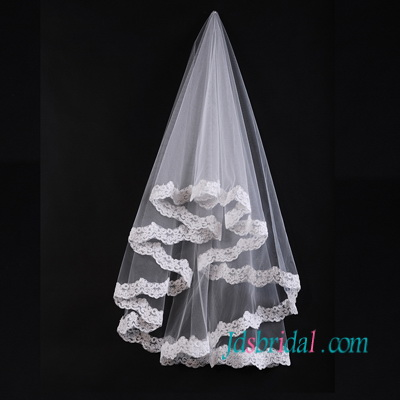 JV011 waist length wedding veil with lace trim