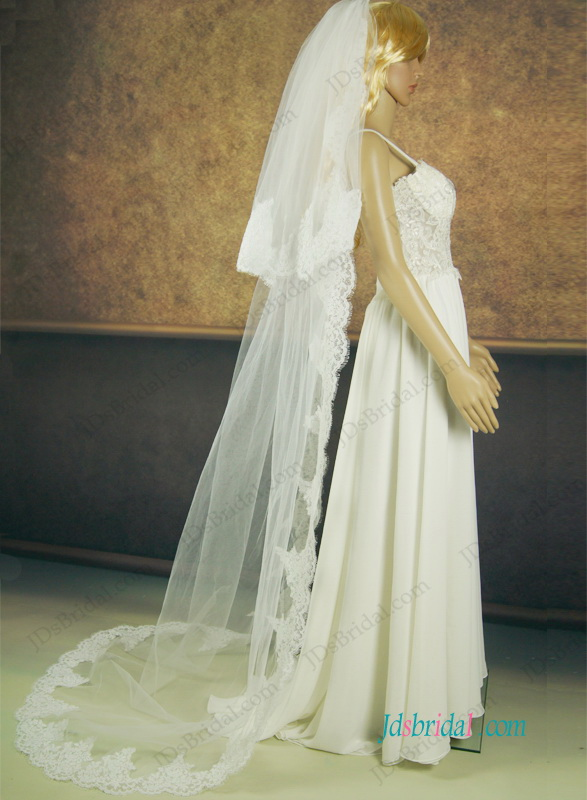 JV013 two layers long wedding veil with lace border