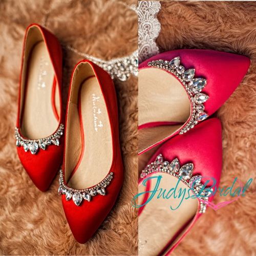 WS016 Red blue pink white colored satin high heel closed toes wedding bridal shoes