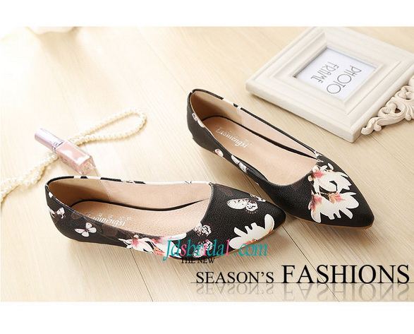 WS017 Fashion print floral women's shoes flats closed toes black/white/beige