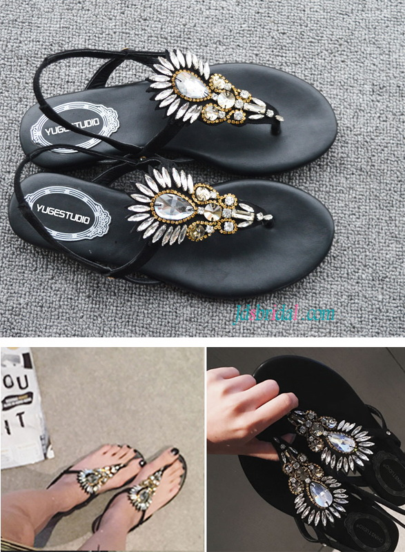 WS018 Women's shoes summer crystals sandals flat heels