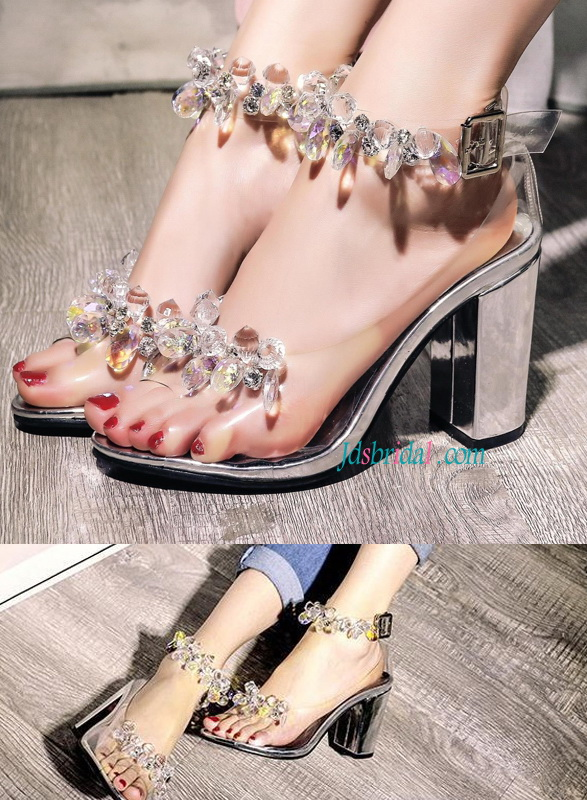 WS019 Fashion crystals chunky heels sandals women's shoes