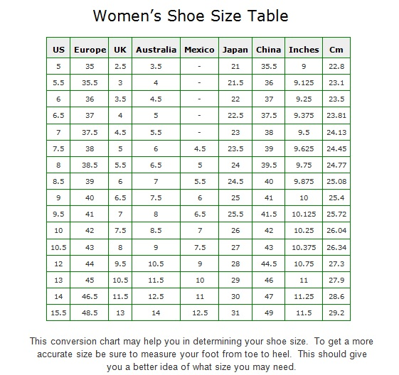 Size  Womens Shoes In Inches