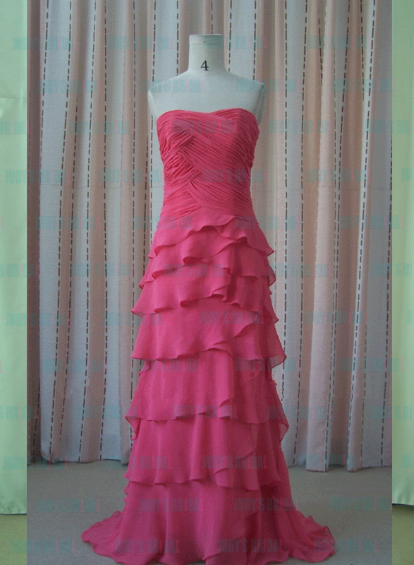 JM11001 Hot pink graceful chiffon celebrity prom gown evening dress