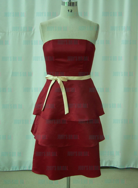 JM11002 burgundy red color short bridesmaid dress