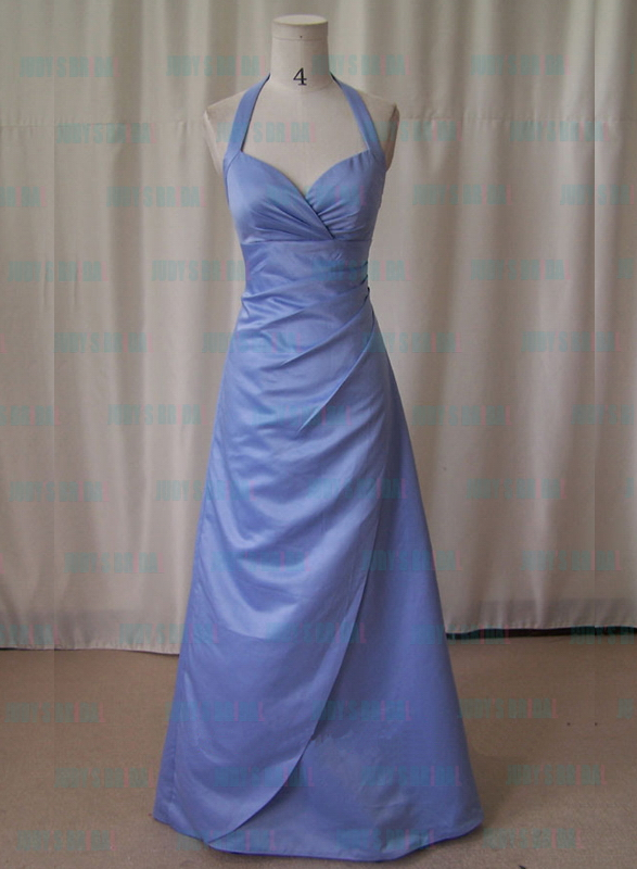 JM11004 halter lavender color full length bridesmaid dress