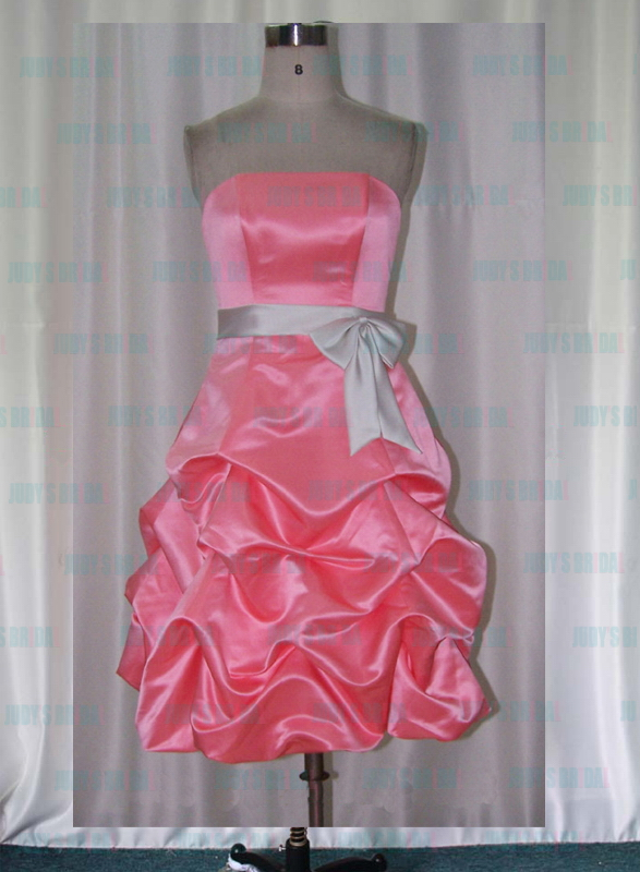 JM11017 lovely pink color short bubble skirt bridesmaid dress