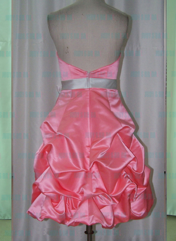 cute pink colored wedding party bridesmaid dress with bubble short skirt and bow belt