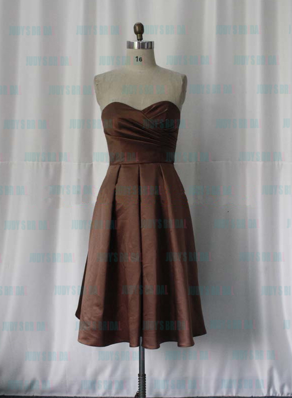 JM11019 sweetheart necked brown color short bridesmaid dress