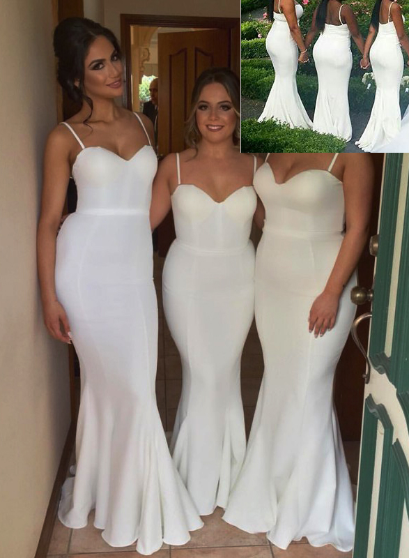 sexy fashionable 2016 spaghetti straps long mermaid bridesmaid dress wedding party gowns