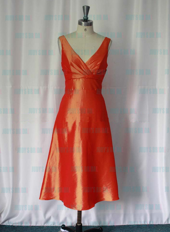 RP024 Strappy v neck tea length orange color bridesmaid dress