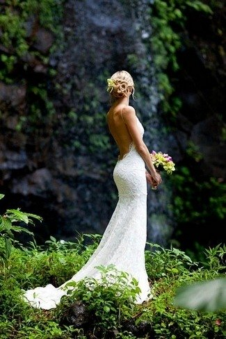 designer inspired lace backless mermaid wedding dresses