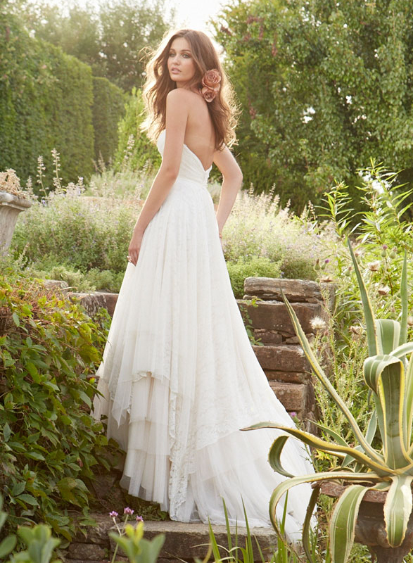 designer inspired flowy backless lace wedding dresses