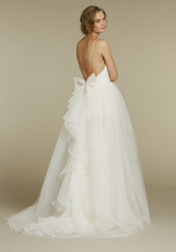 designer inspired flowy backless wedding dresses with bow and cascade back