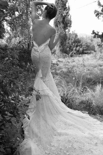 designer inspired backless lace wedding dresses with 3/4 sleeves