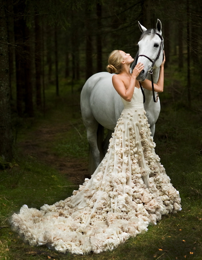 white horse with happiness bride and her detailed gorgeous wedding prom gowns dress