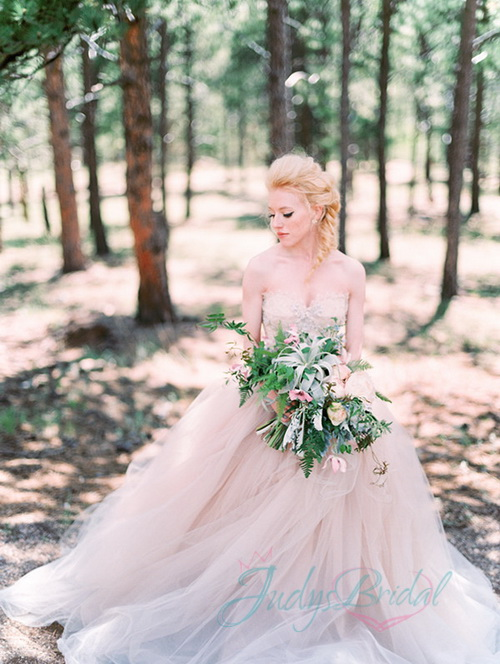 lovely airy tulle pink colored forest wedding gowns dresses