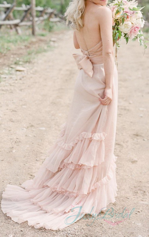 boho pink blush colors tiered chiffon slim wedding dress