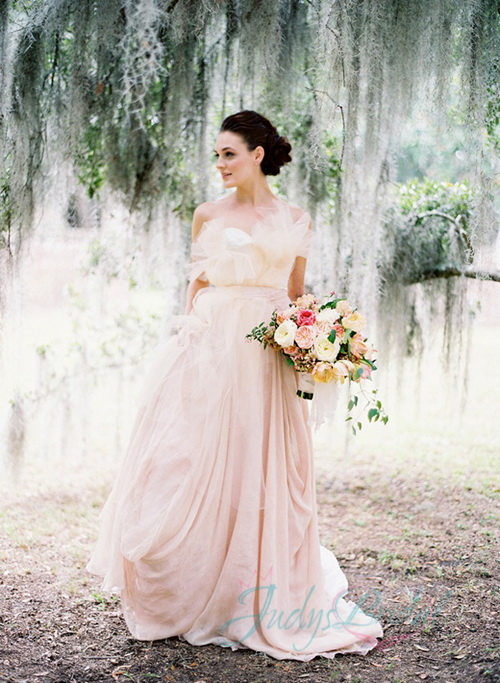13 sweety blush pink colored wedding dresses unique blush pink flowers chiffon wedding dresses junglespirit Images