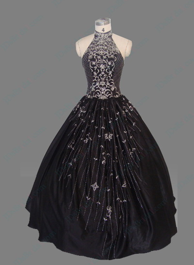 EZ12020 black halter beading evening prom gown