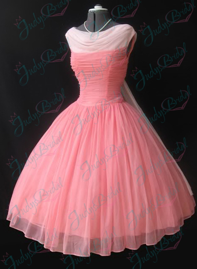 JM11018 vintage tea length pink prom party dress