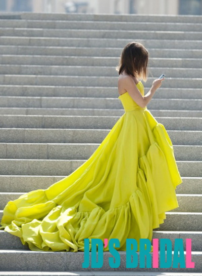JOL134 Lemon color high low hem long train celebrity prom gown
