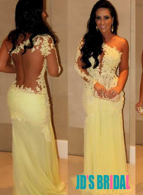 JOL178 yellow sexy sheer open back lace one shoulder long prom dress
