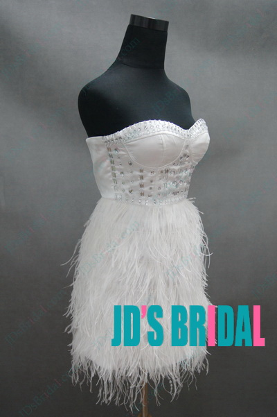 JP11028 Inspired Design petite crystal ostrich feather party dress