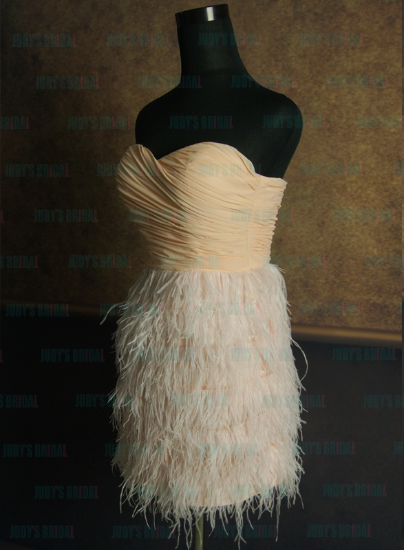 JP11039B peach pink colored ostrich feathers homecoming party dresses
