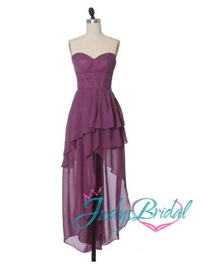 JP11058 purple boned high-low party prom dress for sale