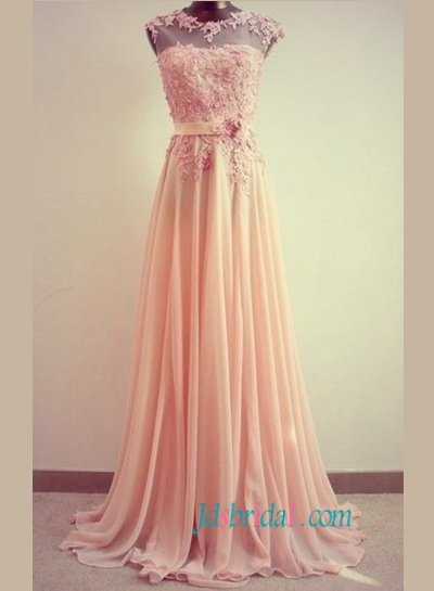 JP11061 gracefull flowers pink full length prom dress celebrity dresses