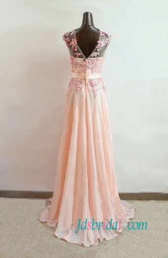 blush illusion neck formal prom gown dress with pink lace flowers long chiffon dress for school party evening gowns