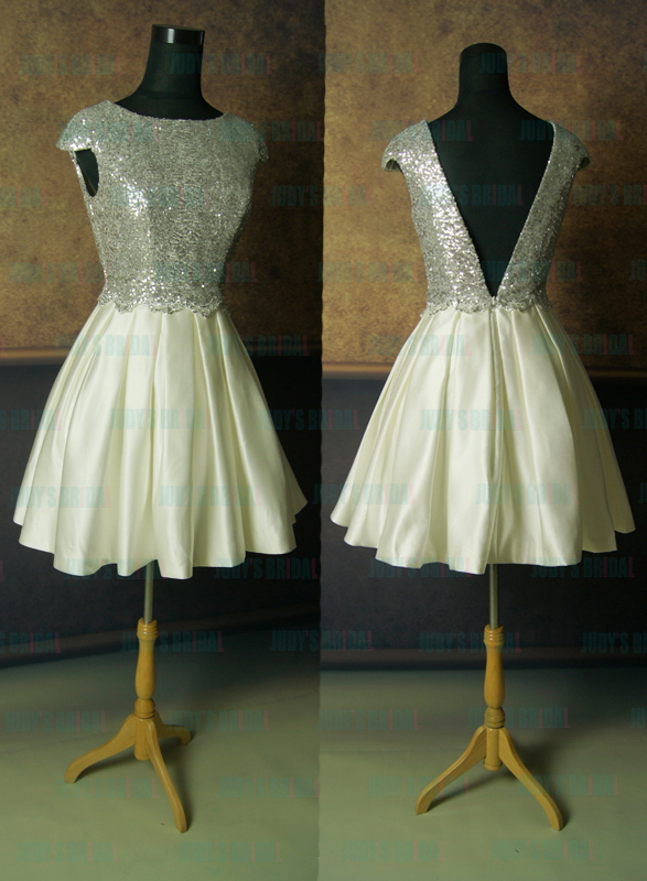 LJ14061 Ivory / silvery sequins top with pleated skirt short party prom dress