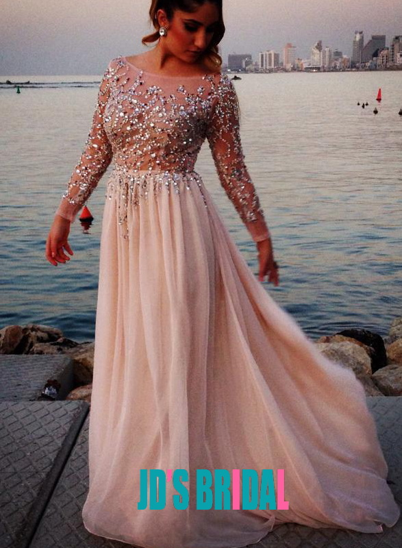 b4a0d3fef2 LJ14083 Sexy sparkles sheer top chiffon evening prom dress