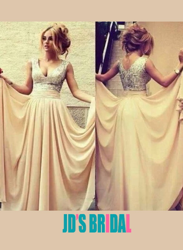 LJ14084 v neck silvery sequins chiffon long prom dress   dad311cd03e6