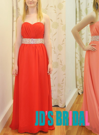 LJ14128 simple strapless red peach long chiffon prom dress