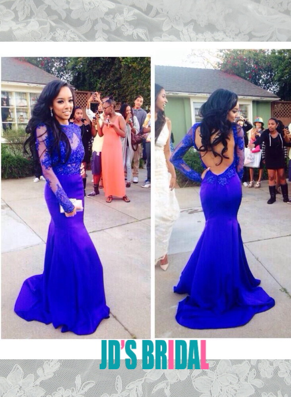 cf5a08d335 LJ14133 blue cutout backless lace long sleeves mermaid prom gown