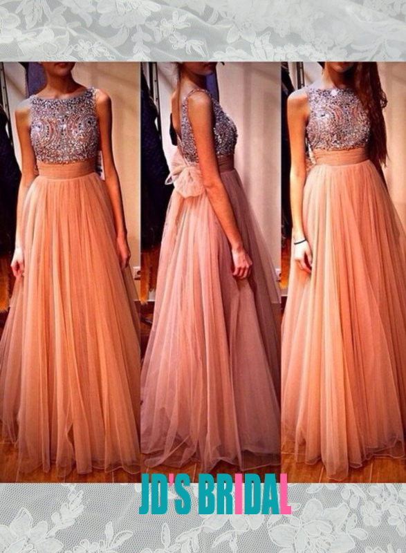LJ14134 sparkles crystals peach tulle long evening prom dress