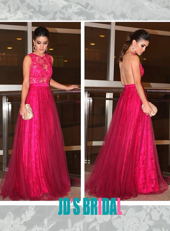 LJ14136 hot pink sheer back lace with tulle skirt long prom gown 98ef28779