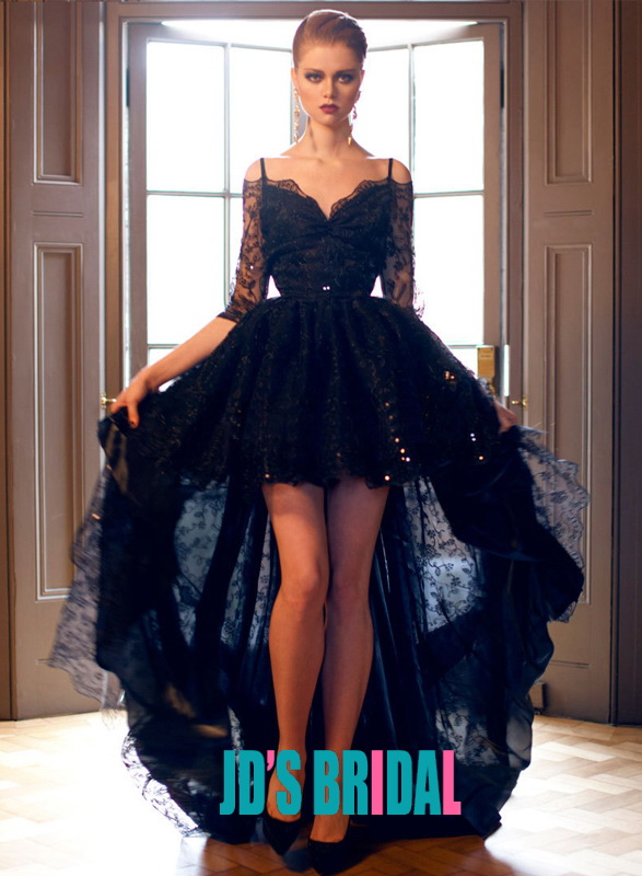 LJ14137 black off shoulder half long sleeve high low lace prom evening dress